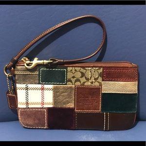 Coach Bleeker Street leather/suede patch wristlet